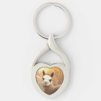 Alpaca Gold Twisted Heart Keychain