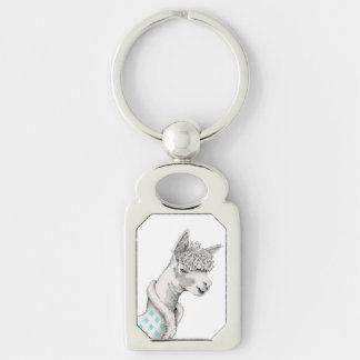 Alpaca Metal Keychain