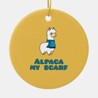 Alpaca My Scarf Round Ceramic Ornament