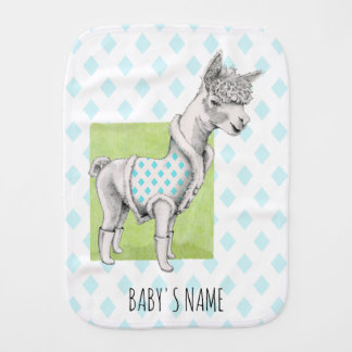 Alpaca on Green Burp Cloth