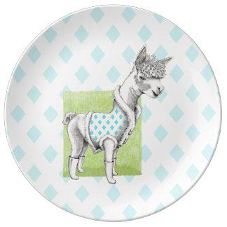 Alpaca on Green Decorative Porcelain Plate