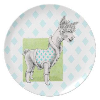 Alpaca on Green Melamine Plate