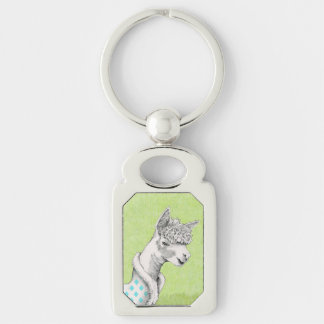 Alpaca on Green Metal Keychain