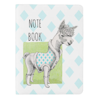 Alpaca on Green Notebook Cover