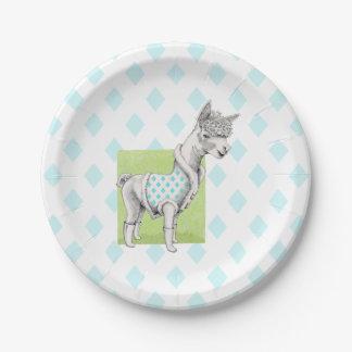 Alpaca on Green Paper Plates