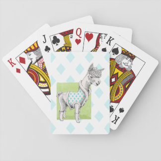 Alpaca on Green Playing Cards