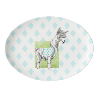Alpaca on Green Porcelain Coupe Platter