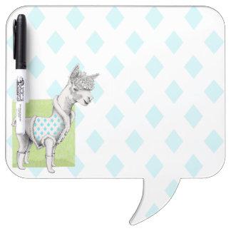 Alpaca on Green Speech Bubble Dry Erase Board
