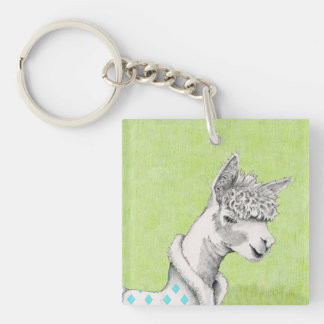 Alpaca on Green Square (double-sided) Keychain