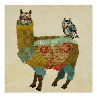 Alpaca & Owl Poster