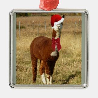 Alpaca Santa Silver-Colored Square Ornament