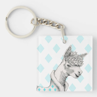 Alpaca Square (double-sided) Keychain