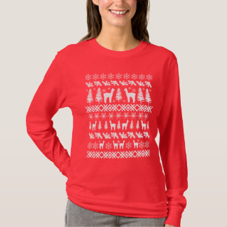 "Alpaca ""Ugly Christmas Sweater"" white T-Shirt"