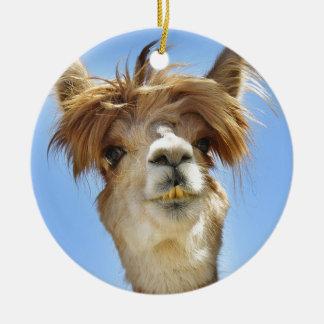 Alpaca with Crazy Hair Ceramic Ornament