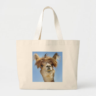 Alpaca with Crazy Hair Large Tote Bag