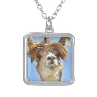 Alpaca with Crazy Hair Silver Plated Necklace