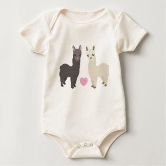 Alpacas and Heart Baby Bodysuit