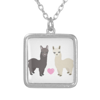 Alpacas and Heart Silver Plated Necklace