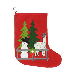 Alpacas Fun In The Snow Christmas Stocking Large Christmas Stocking