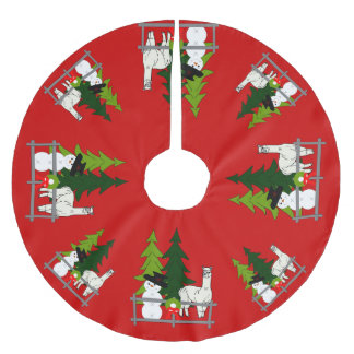 Alpacas Fun In The Snow Christmas Tree Skirt Brushed Polyester Tree Skirt