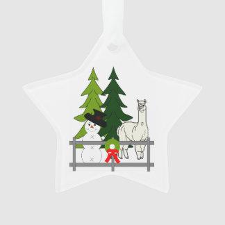 Alpacas Fun In The Snow Star Ornament Decoration