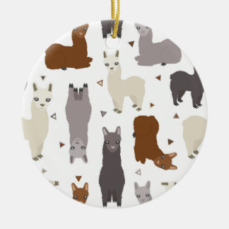 Alpacas Geo Pattern Ceramic Ornament