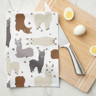 Alpacas Geo Pattern Kitchen Towel