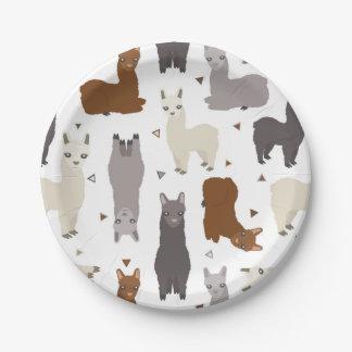 Alpacas Geo Pattern Paper Plate