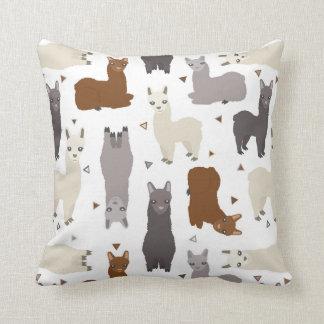 Alpacas Geo Pattern Throw Pillow
