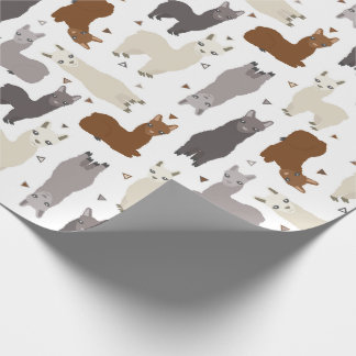 Alpacas Geo Pattern Wrapping Paper