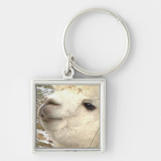 Alpakas Silver-Colored Square Keychain