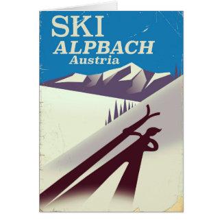 Alpbach Austrian ski travel poster Card