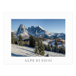 Alpe di Siusi winter landscape white postcard
