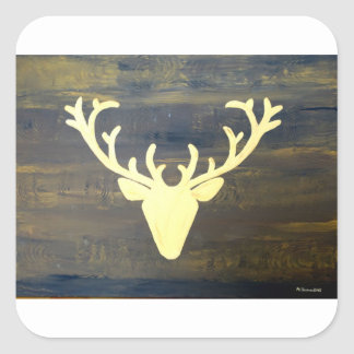Alpen Chalet Style Deer Square Sticker
