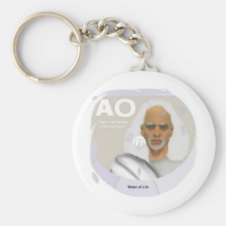 Alpha and Omega Basic Round Button Keychain