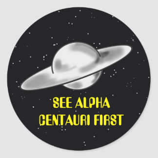 ALPHA CENTAURI FLYING SAUCER TRAVEL CLASSIC ROUND STICKER