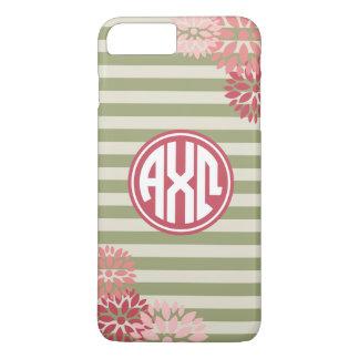 Alpha Chi Omega   Monogram Stripe Pattern iPhone 8 Plus/7 Plus Case