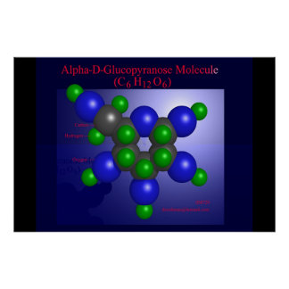 Alpha-D-Glucopyranose Molecule (print) Poster