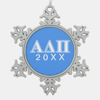 Alpha Delta Pi Dark Blue and White Letters Snowflake Pewter Christmas Ornament
