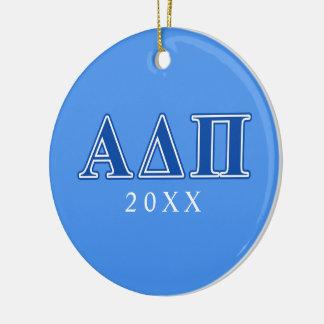 Alpha Delta Pi Dark Blue Letters Ceramic Ornament