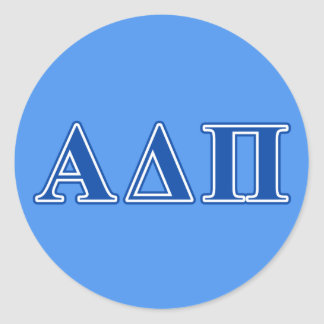 Alpha Delta Pi Dark Blue Letters Round Sticker