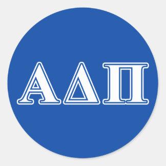 Alpha Delta Pi Light Blue and White Letters Round Sticker