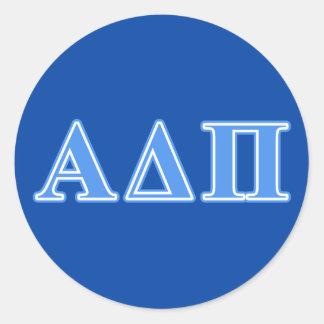 Alpha Delta Pi Light Blue Letters Round Sticker