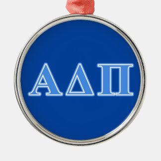 Alpha Delta Pi Light Blue Letters Silver-Colored Round Ornament