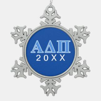 Alpha Delta Pi Light Blue Letters Snowflake Pewter Christmas Ornament