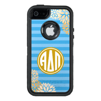 Alpha Delta Pi | Monogram Stripe Pattern OtterBox Defender iPhone Case
