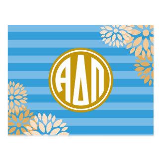 Alpha Delta Pi | Monogram Stripe Pattern Postcard