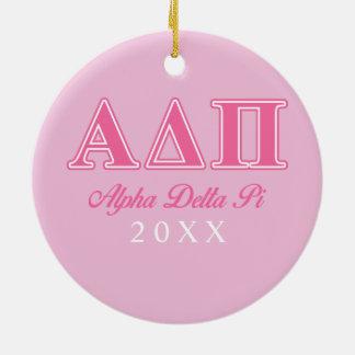 Alpha Delta Pi Pink Letters Ceramic Ornament