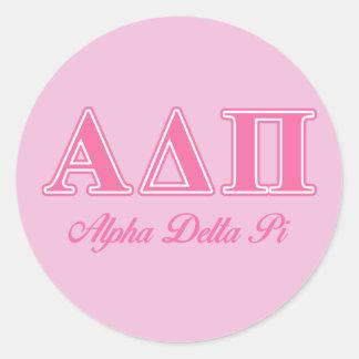 Alpha Delta Pi Pink Letters Round Sticker