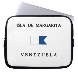 Alpha drapeau de piqué d Isla de Margarita Housse Pour Ordinateur Portable